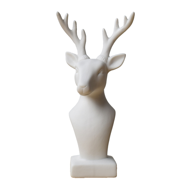 European Minimalist Nordic White Ceramic Deer Head Figurines Matte Frosted Animal Crafts Ornament Home Decorations Accessories