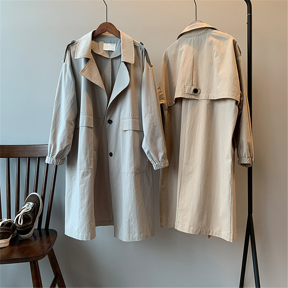 Vintage Cotton Women Coat 2019 Autumn Women's Casual Trench Coat oversize Single Breasted Washed Outwear Loose Clothing 68501 (25)