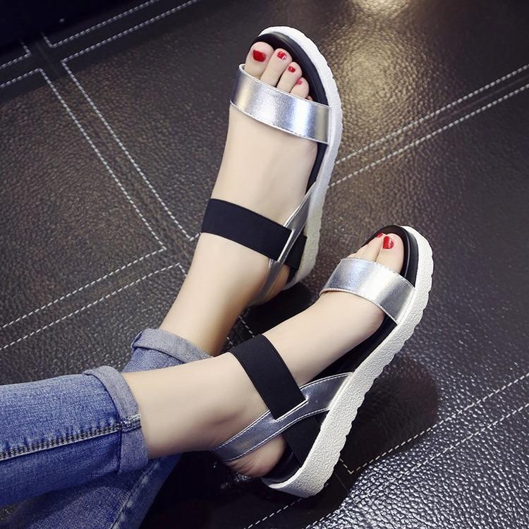 HTB19tYbonTI8KJjSsphq6AFppXab 2019 New Hot Sale Sandals Women Summer Slip On Shoes Peep-toe Flat Shoes Roman Sandals Mujer Sandalias Ladies Flip Flops Sandal