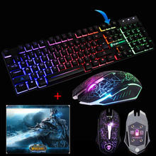 Wired T6 Rainbow Backlit illuminated Usb Multimedia Ergonomic Gaming Keyboard 2400DPI PC Optical Gaming Mouse Cool