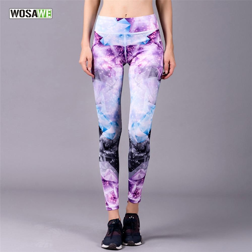 WOSAWE Printing Yoga Pants Quick Dry Elastic Sport Running