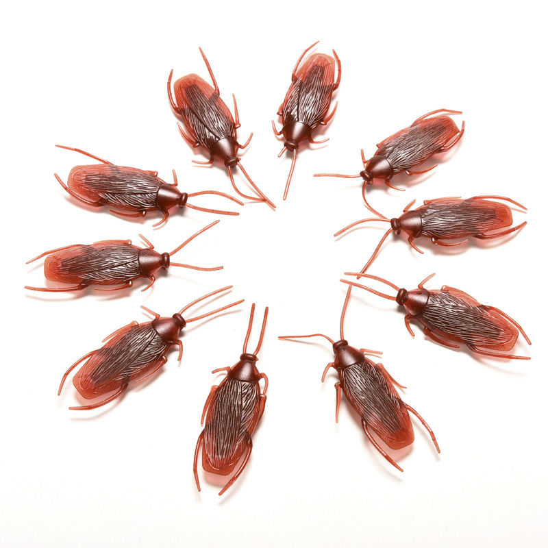 10pcs/lot Simulation Fake Rubber Cockroach Cock Roach Bug Roaches Toy Prank Funny Trick Joke Toys Special Lifelike Model