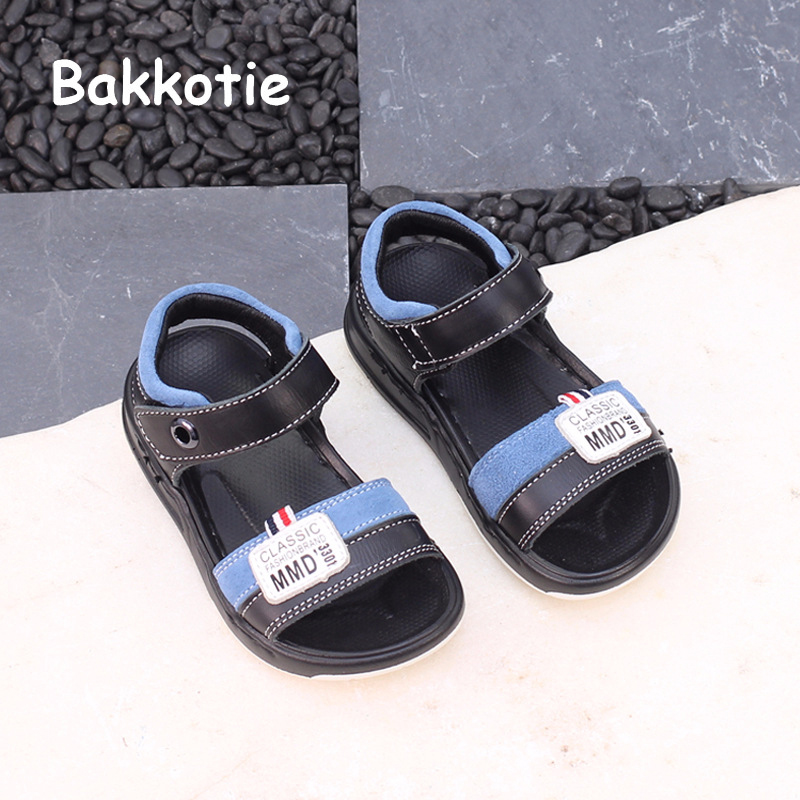 Bakkotie 2018 New Fashion Summer Toddler Sport Shoe Baby Girl Genuine Leather Beach Sandal Children Boy Casual White Brand Flats