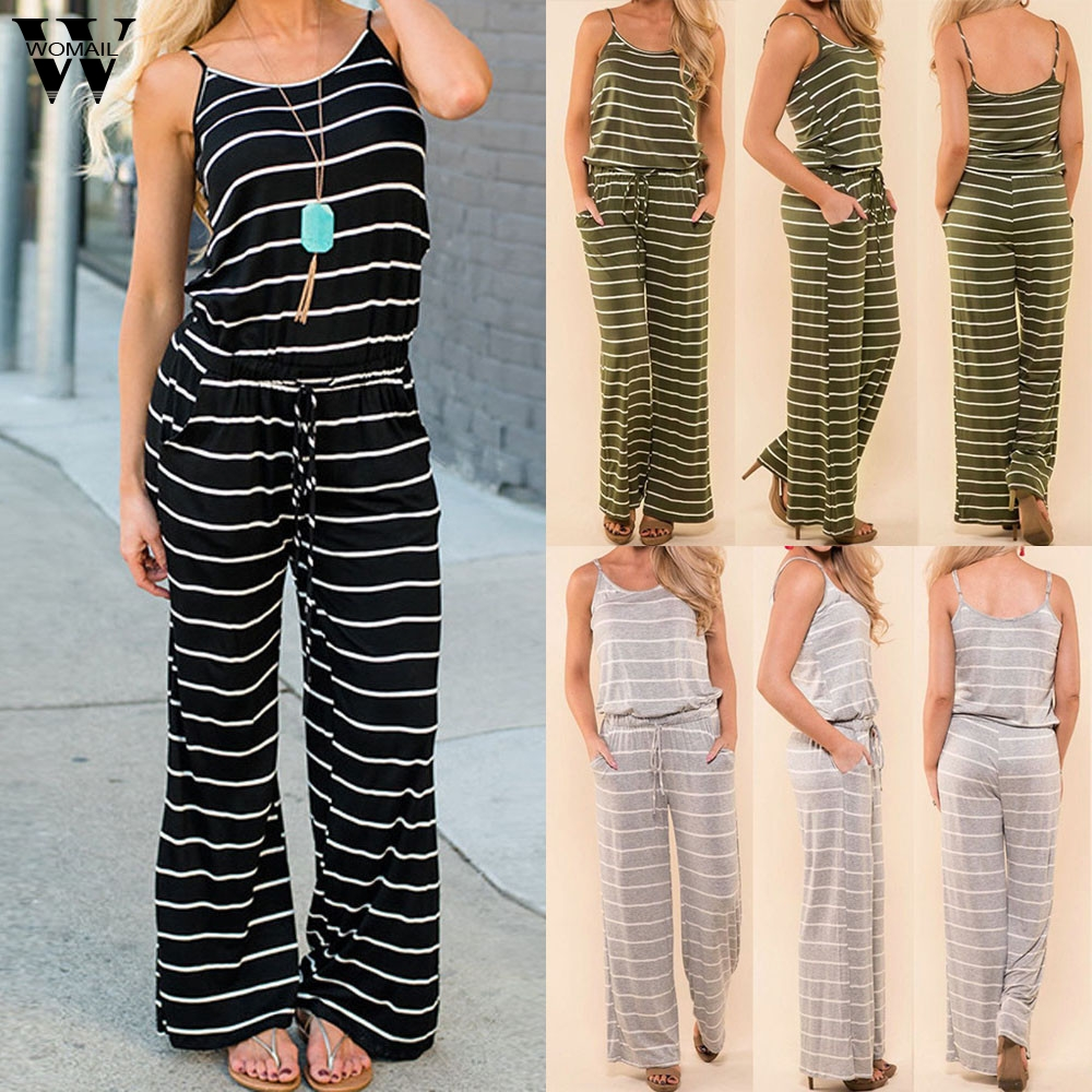Womail bodysuit Women Summer Fashion Boho Ladies Stripe Sleeveless Long Playsuits Rompers Jumpsuit Casual M5