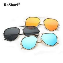 RoShari Unisex gafas de sol polarizadas hombres mujeres Coloridas Gafas de Sol Hombres Lente Plana Gafas Accesorios gafas de sol mujer