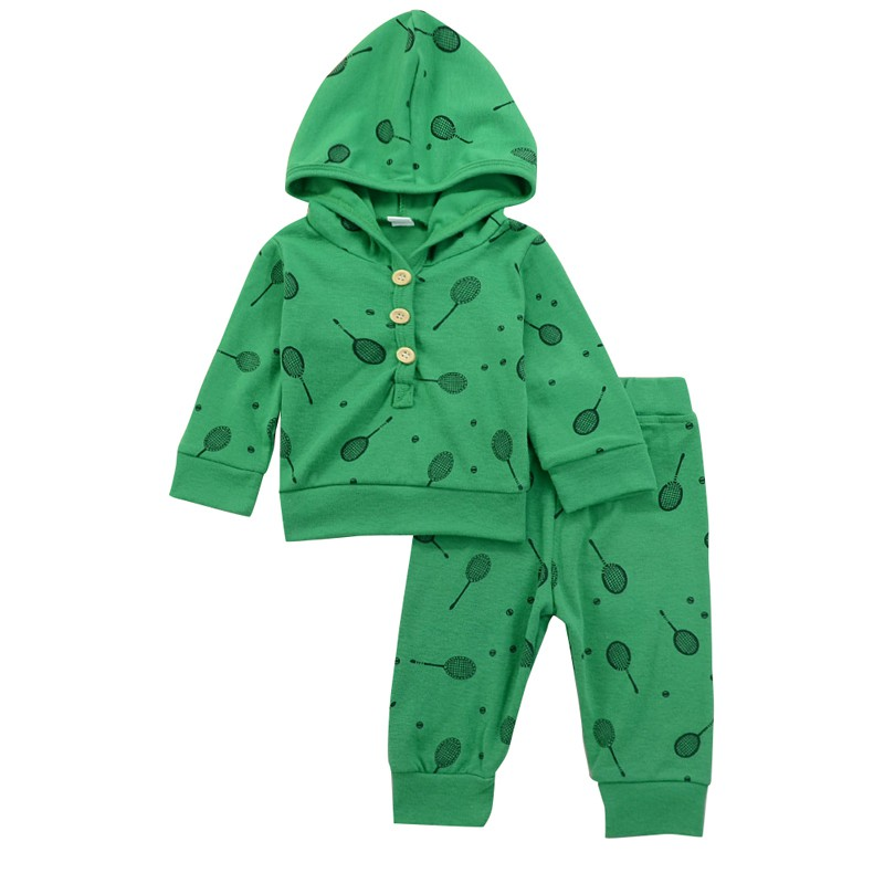 2018 Baby Clothes Set Baby Badminton Rackets Print Sports Jersey Suit Hooded Jacket + Solid Pants Outfit