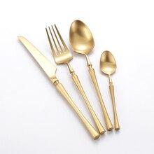 """24 יחידות חג המולד זהב כלי שולחן סכו""""ם סט 304 Stainles פלדת סכין S פון ומזלג סט זהב אוכל מטבח אבזרים"""