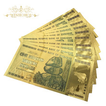 2000pcs Zimbabwe One Hundred Trillion Dollars Banknote With 210 Certificates in 24k Gold With 99.9% metal Pure By Fedex(China)