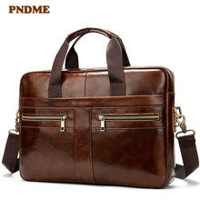 PNDME vintage genuine leather men's briefcase casual simple business high quality soft cowhide laptop bag office work bag