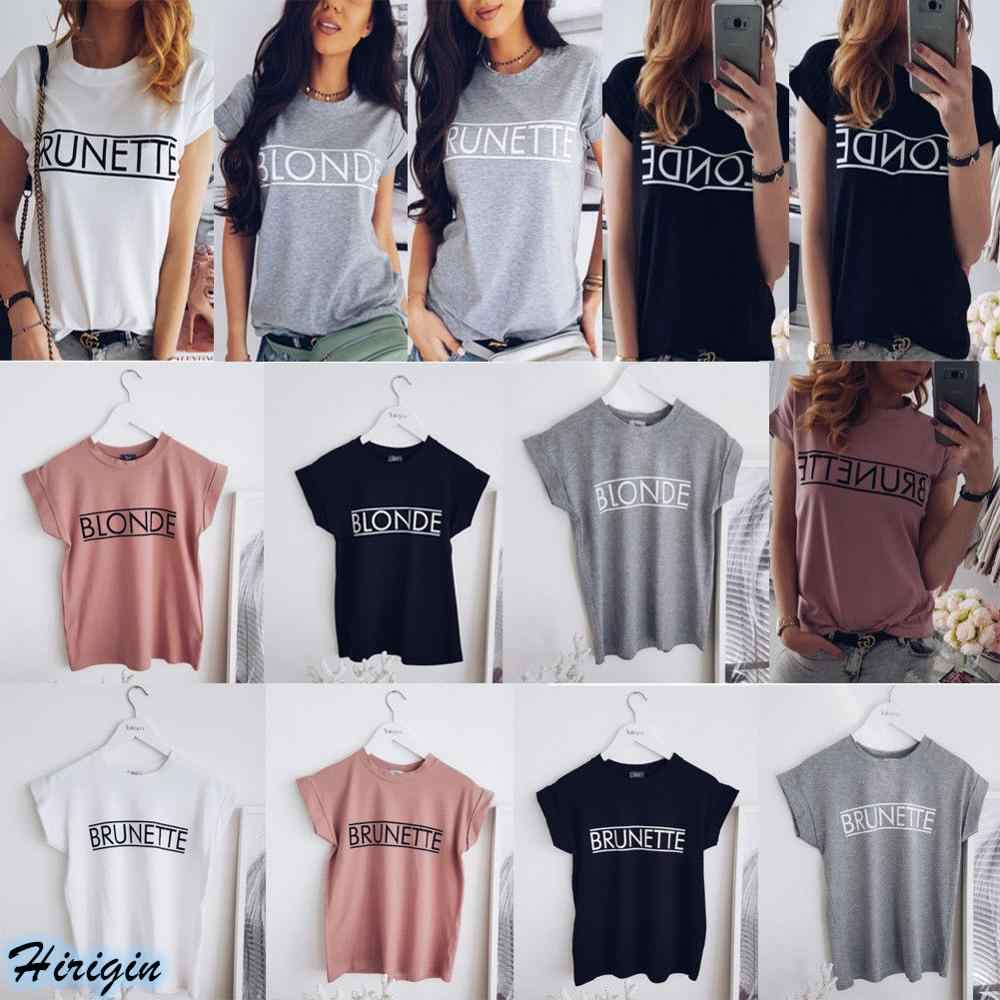 Summer Women Casual T-shirts HOT Women Summer Casual Short Sleeve O-Neck Letter Print Solid Loose T-Shirt