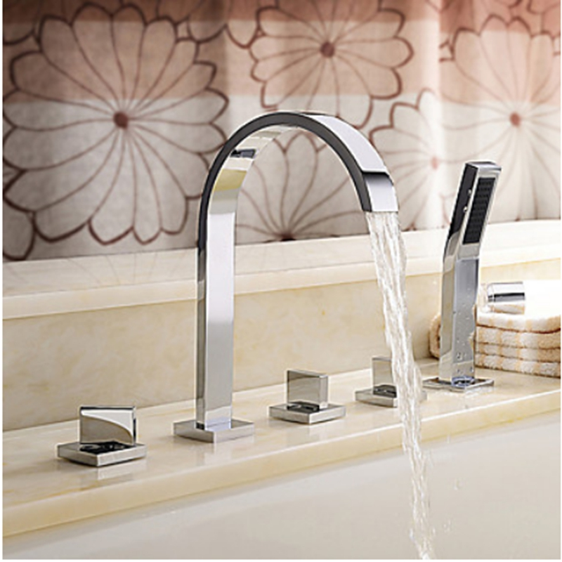 Polish Chrome Deck Mounted Three Handles Bthroom Tub Shower Faucet Mixer Tap NEW