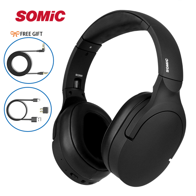 New Arrival Somic SC2000 Active Noise Reduction HIFI Sound Headphone Wire Wireless Headset APTX  CSR Bluetooth Music Headband