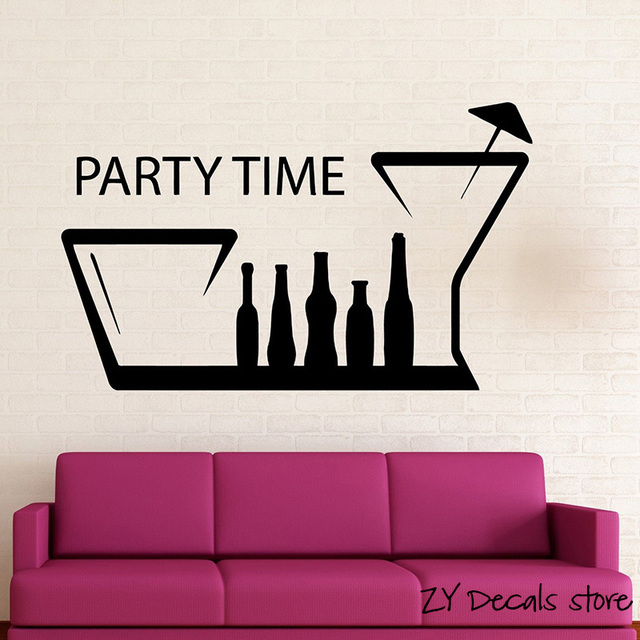 fun nightclub hangout positive wall decal party time wall sticker