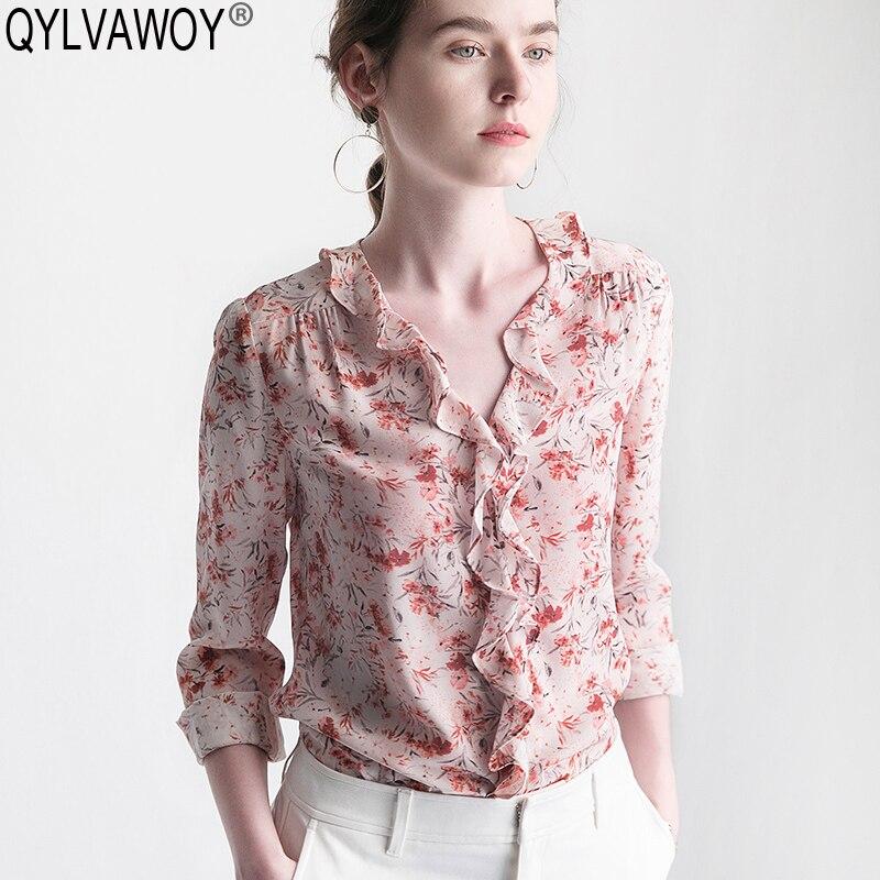 Women's Shirt Spring 100% Silk Blouse Women Blouses 2019 Vintage Korean Floral Blouse Women Tops Shirts Camisas Mujer J18JA277