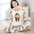 New 2016 Autumn Winter Womens Pajama Sets O-Neck Long Sleeve Women Sleepwear Pajamas Girls Woman Pyjama Femme