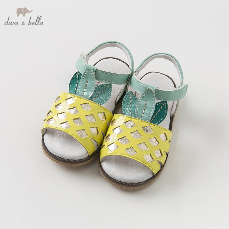DB10255 Dave Bella summer baby girl sandals new born infant shoes girl sandals Princesss shoes pineapple