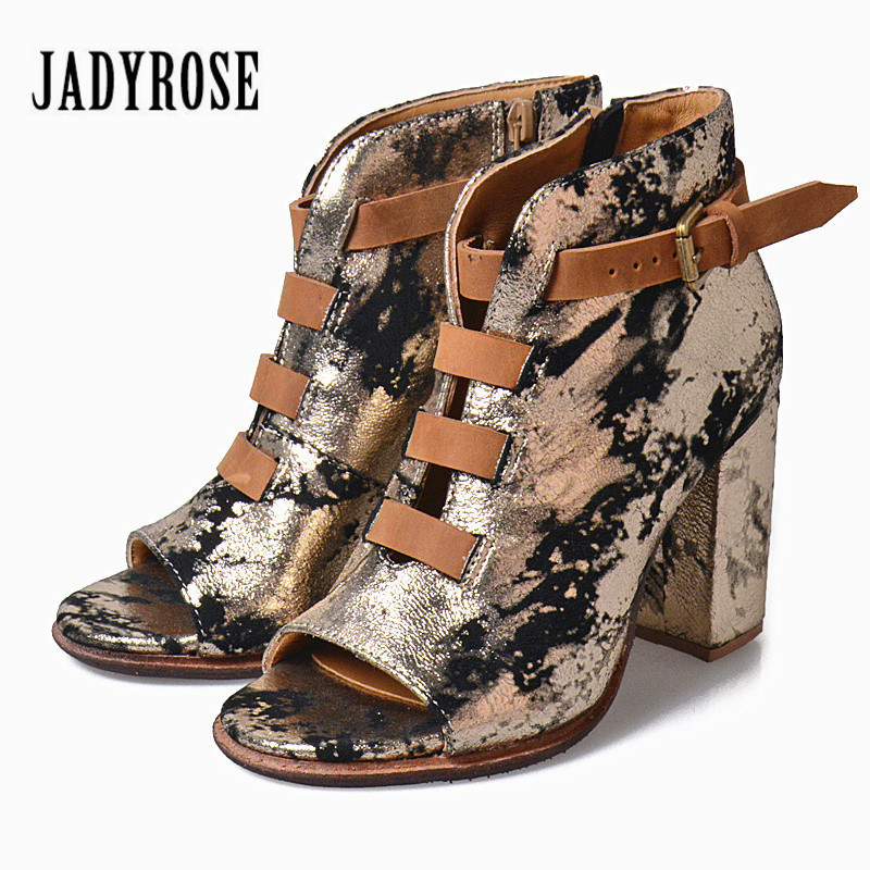 где купить Jady Rose Summer Boots Peep Toe Chunky High Heels Belt Buckle Ankle Boots Bling Genuine Leather Side Zipper Women Pumps по лучшей цене