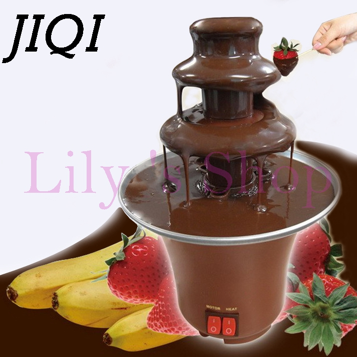 JIQI Household DIY 3-tier chocolate fountain fondue mini Choco waterfall machine three layers Children Birthday heat melts EU US коньячный набор