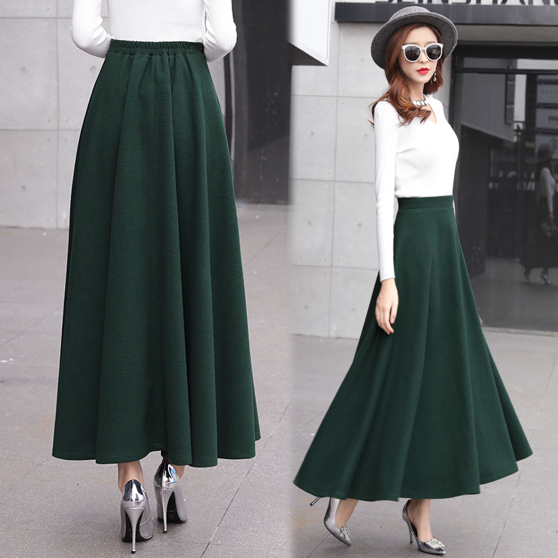 Image 4 - High Waist Woolen Skirts Womens Winter 2018 Fashion Streewear Wool Long Pleated Skirt With Belt Casual Ladies Saia Longa Black-in Skirts from Women's Clothing