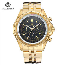2016 Direct Selling Watch Blackcat Stainless Steel Men Watches Orkina Golden 30m Waterproof Men s Fashion