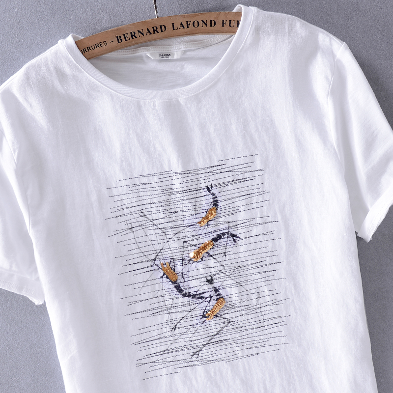 New arrival short sleeve t shirt men brand white t-shirt mens summer tops embroidery with sequins t shirts male camisa chemise