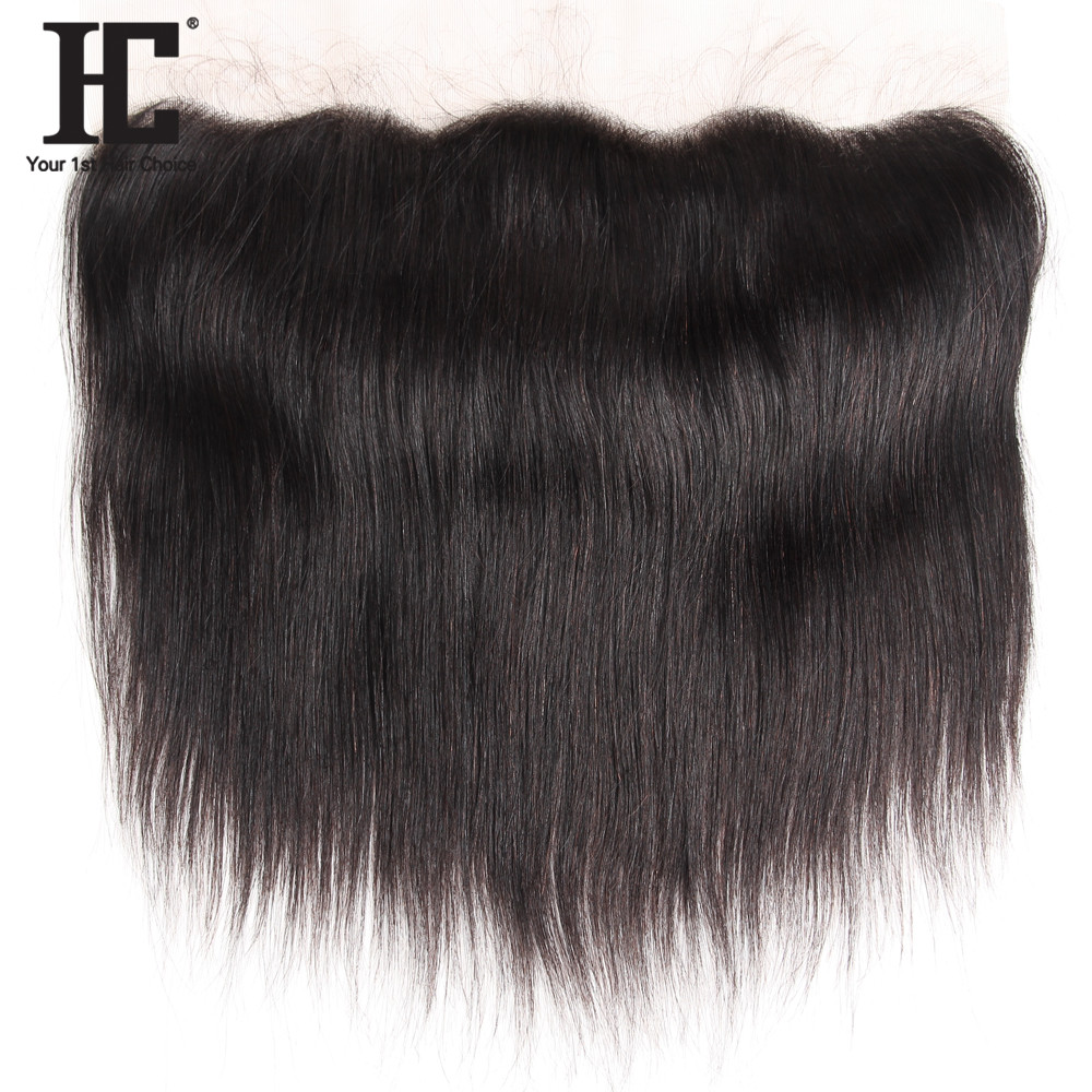 HC Hair Products Peruvian Straight Human Hair Lace Frontal With Baby Hair One Bundle 13x4 Inch Ear To Ear Remy Hair Closure