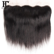 HC Peruvian Remy Hair Product 100% Straight Human Hair Lace Frontal Closure With Baby Hair Ear To Ear 13x4Inch No Shed Tangle