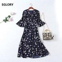 Vintage Retro Dress Women S High Quality Chiffon Floral Print V Neck Flare Sleeve Large Swing