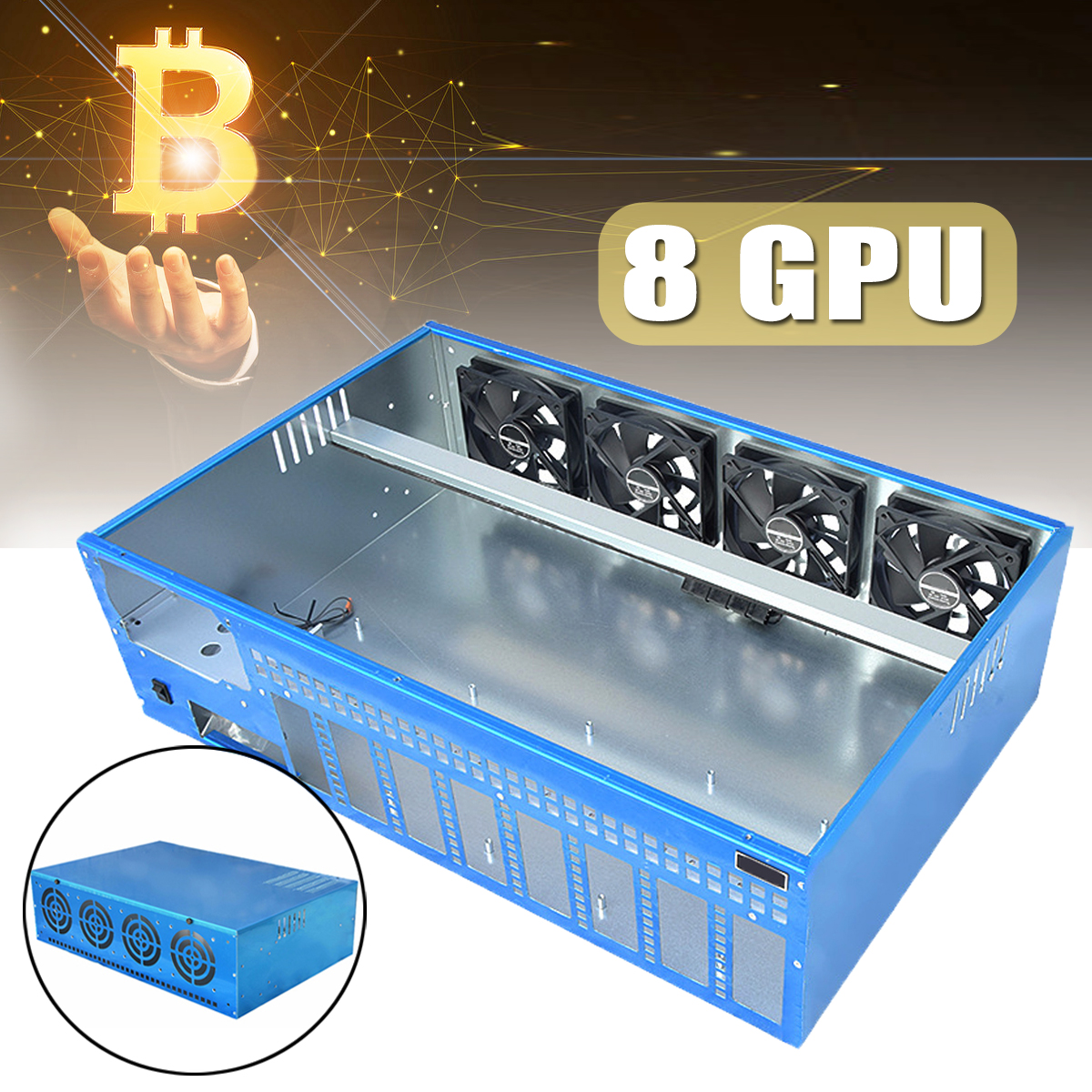 8 GPU 4 Fans Closed Mining Computer Cold rolled steel Case Frame Server Chassis For Onda B250 BTC D8P-D3 Motherboard купить в Москве 2019
