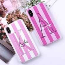 Sexy Pink Lips Custom Personalized Initial Name Striped PU Leather Phone Case Cover For iPhone X 6 XS Max 7 7Plus 8 8Plus 5 SE zs002 colorful protective pu leather case for iphone 5 white deep pink yellow pink