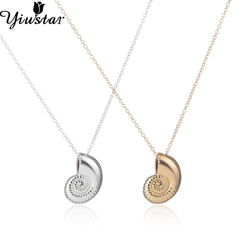 Argjendë të re Ariel Zëri Shell gjerdan Spiral Swirl Swirl Necklace Sea Ocean Beach Conch Ariel Necklaces For Women Dhuratat e grave