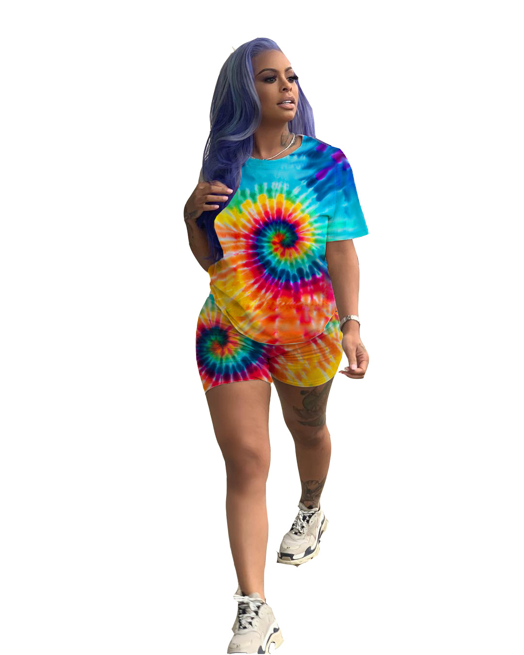 Women New Summer Black Hole Tie Dye 3d Print Short Sleeve O-neck T Shirts & Shorts Suit Two Piece Set Sporty Tracksuit LY5047