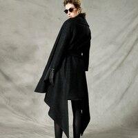 [AIGYPTOS-C] Inverno Design Originale Delle Donne Della Novità di Personalità di modo cappotto collare sciarpa di modo irregolare lungo cappotto di lana nero