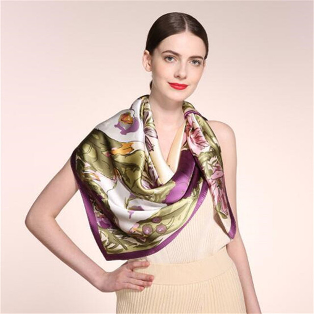 winter scarf women 2016 High-end Real silk printing delicate Multi purpose large Kerchief bandana horse hijab shawl silk scarf