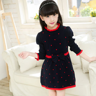 British Dress For School Girl Children Brand Plaid Dress Knitting Long Sleeve Wear High Quality Dresses for Menina Kids L304