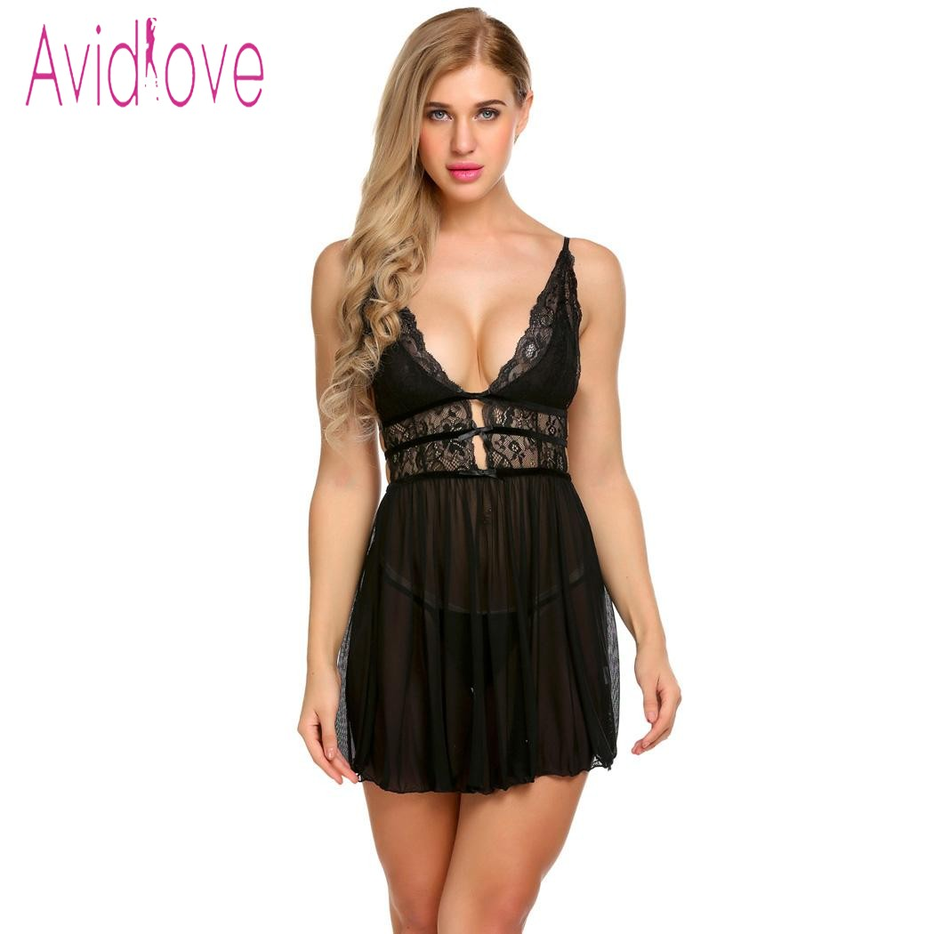 Buy Avidlove Lingerie Sexy Erotic Hot Babydoll Dress Women Patchwork  Floral Lace Night Porn Chemise Underwear Fantasy Sex Clothes
