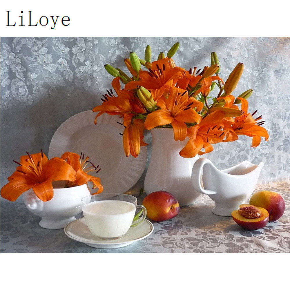 LI LOYE Full Diamond Painting Cross-Stitch Kits A variety of flowers Embroidery Pattern Picture With Rhinestone Home Decor FZ355