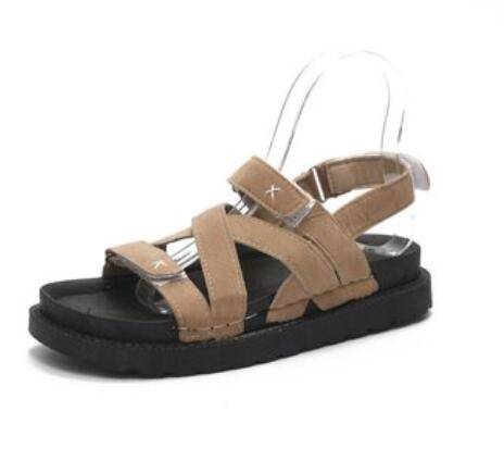Fashion rome causal sandals shoes woman TH034 beige black cross-tied comfortable suede leather ladies womens low wedges sandals