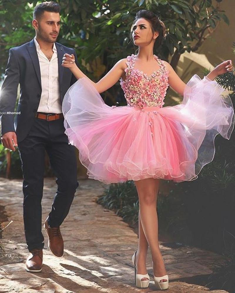 schöne rosa kurze ballkleider für jugendliche 2016 halter blume ballkleid  partykleid für graduation schnelles verschiffen