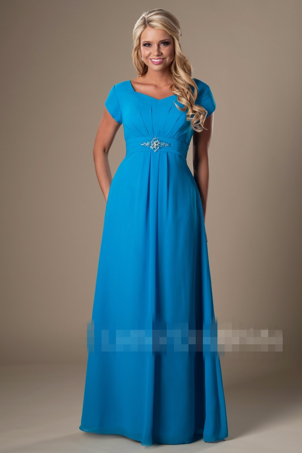 Simple Blue Chiffon Beach Modest Bridesmaid Dresses With Sleeves ...