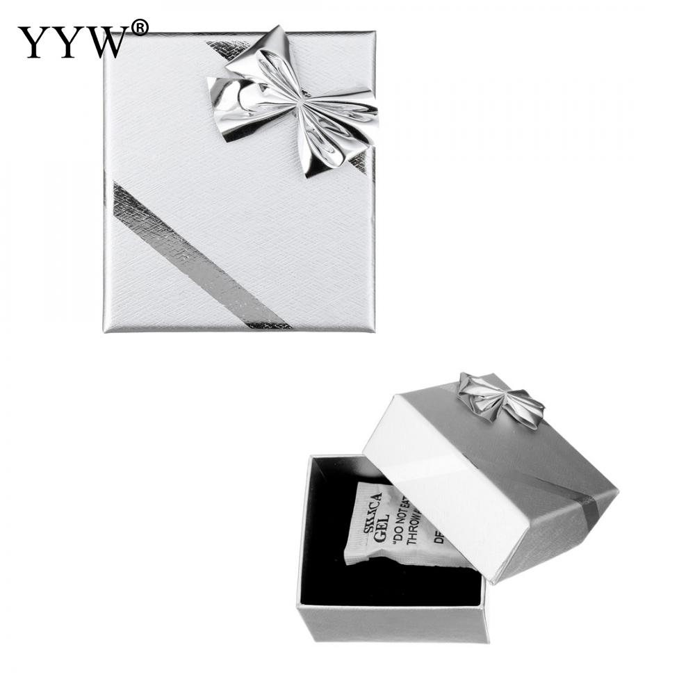 51x56x40mm Jewelry Silver Color Boxes Cardboard Ring Box Paper Ribbon Bowknot Decoration Ring Earring Gift Box Oacking Display