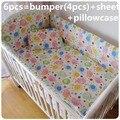 Promoción! 6 unids sistemas del lecho del bebé parachoques, 100% algodón de dibujos animados cuna parachoques ( bumper + hoja + almohada cubre )
