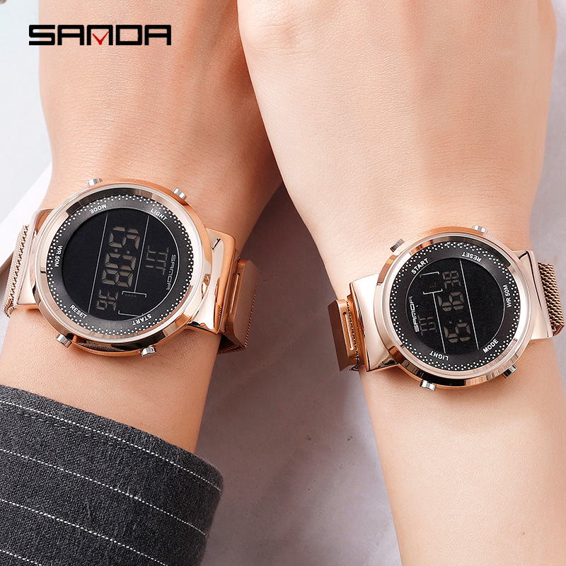 Fashion Rose Gold Women Men Magnetic Digital Watches Luxury Stainless Steel LED Electronic Wristwatches Waterproof Sports Clock
