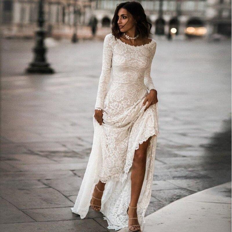 Vintage Lace Modest Wedding Dress 2019 Long Sleeves Simple Boho Wedding Dress Low Back Vestido De Noiva Robe De Mariee Mariage