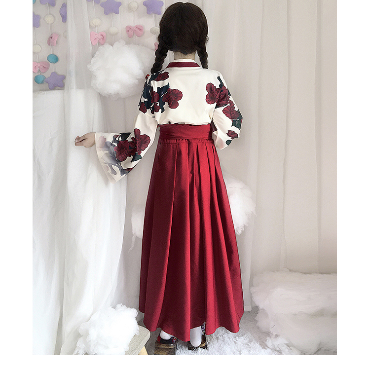 Girls Japanese Style Retro Kimono Floral Long Sleeve Woman Party Dress Summer Fashion Outfits Top Bow Skirt Haori for Female 4