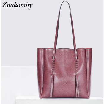 Znakomity Fashion Women Shoulder Bag Soft Genuine Leather Handbags Large Capacity Tote Bags Female Luxury bag for Women 2019