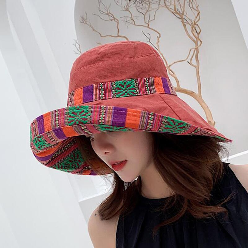 HTB19taFbx2rK1RkSnhJq6ykdpXaV - Double sided irregular Pattern Bucket Hat Women Summer Cotton Breathable Leisure Bob Caps Outdoor Sports Casual Dome Panama Cap