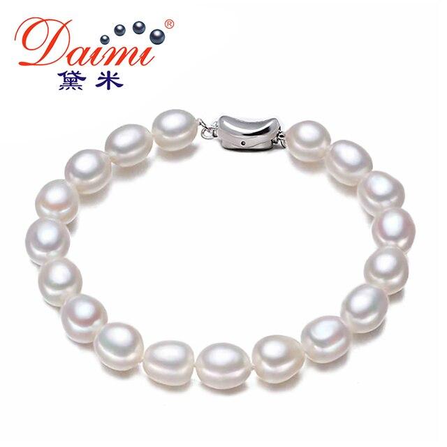 09497c6649b7 Daimi ocasional pulsera perlas de agua dulce 7 - 8 mm blanco Natural de la  perla