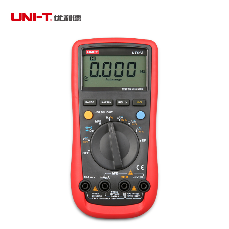 все цены на UNI T UT61A Digital Multimeter Auto/Manual 4000 Count AC DC Volt Amp Ohm meter Analog Frequency/Capacitor/NCV/Transistor Tester онлайн