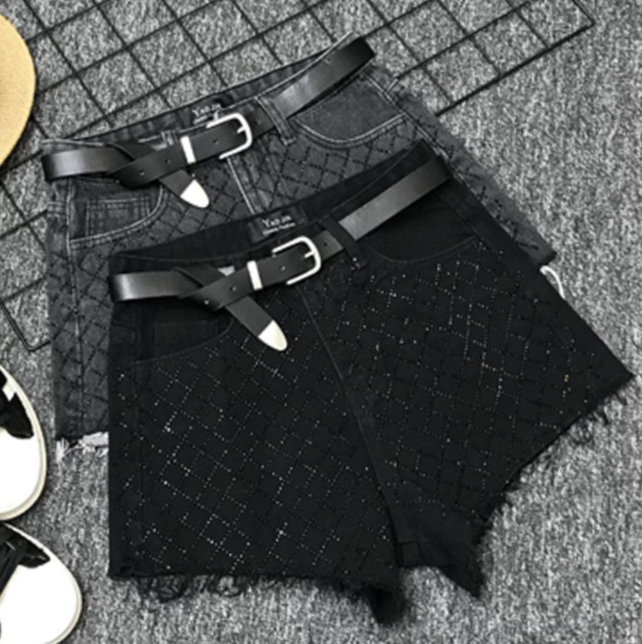 2019 new spring summer denim   shorts   women heavy diamond high waist loose jeans   shorts